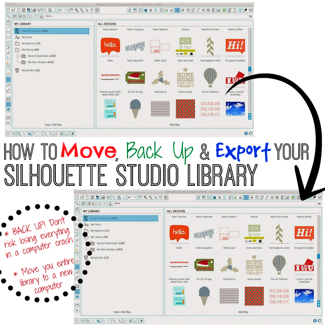Silhouette Studio, Silhouette Studio library, move, back up, export
