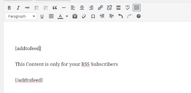 add content only for your RSS readers in WordPress