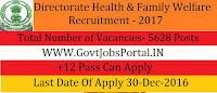 Directorate of Health & Family Welfare Recruitment for 5628 Health Worker Posts 2017