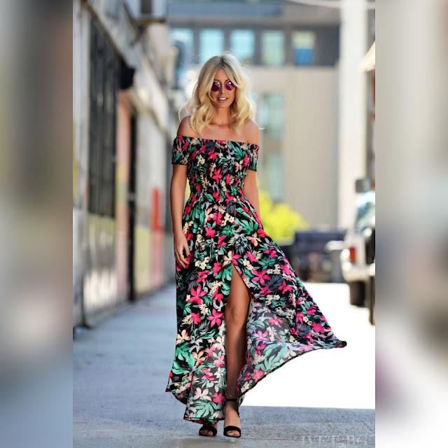 Εντυπωσιακό  χρωματιστό φόρεμα CVETA