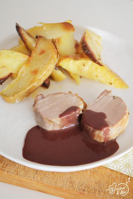 Filet mignon Potatoes Sauce Chocolat Cassis Recette pour les fêtes Noël Nouvel An Originale Rapide Facile