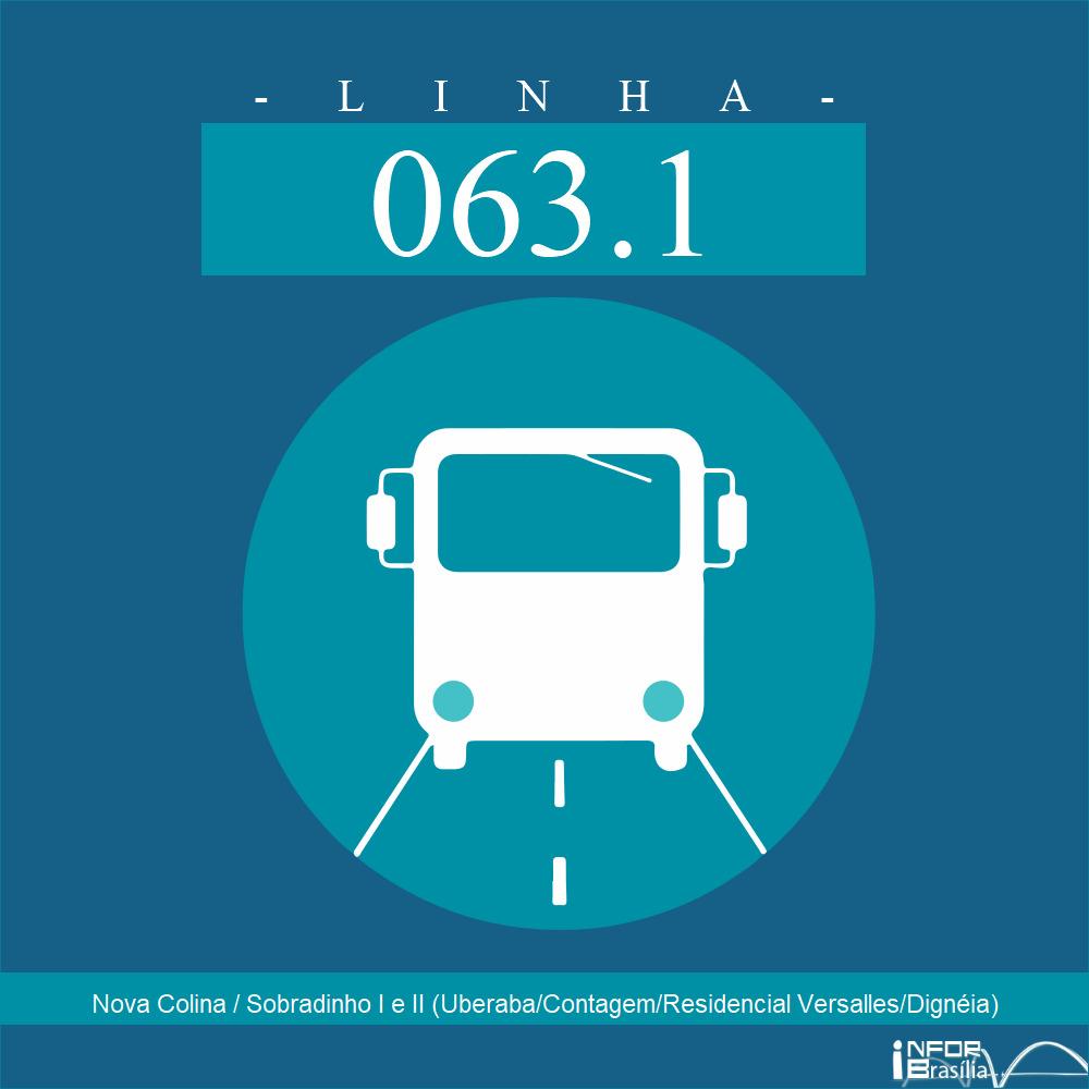 Horário de ônibus e itinerário 063.1 - Nova Colina / Sobradinho I e II (Uberaba/Contagem/Residencial Versalles/Dignéia)