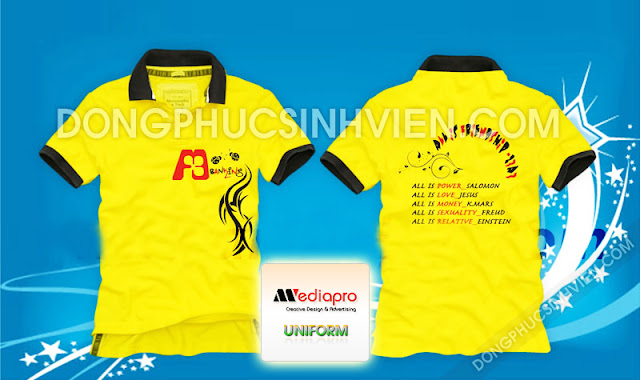 Áo lớp màu vàng cổ trụ in hình tình bạn 12A3 - Mã AL34