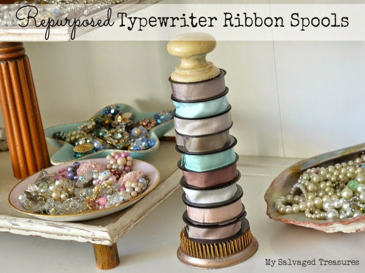 repurposed vintage typewriter ribbon spools silk ribbon organization