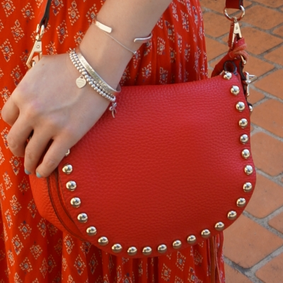 Rebecca Minkoff unlined saddle bag in cherry red | awayfromtheblue