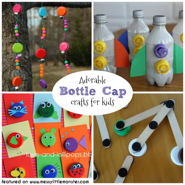 Bottle cap crafts for kids.  A collection of fun bottle top ideas for toddlers, preschoolers and older kids to make from bottle tops. Bottle cap DIY toys. Bottle cap wind chimes, bottle cap rockets, bottle cap animals, bottle cap construction and lots more.