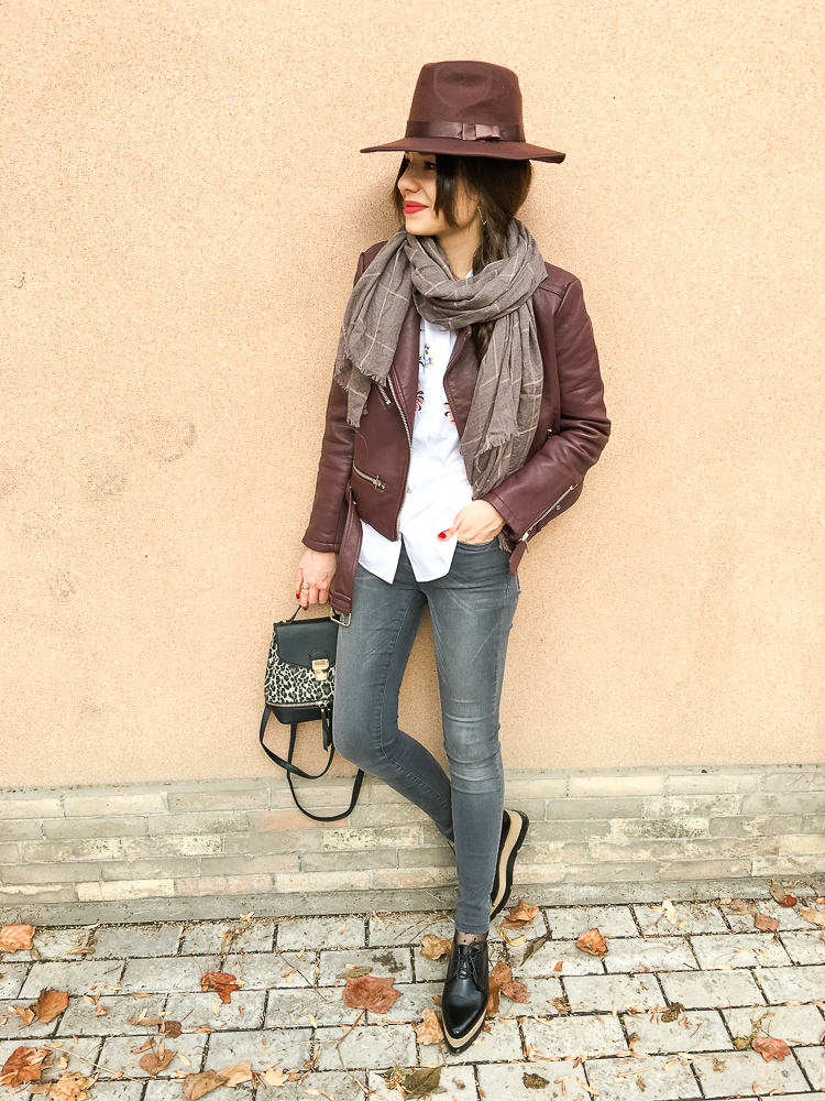 fashion blogger diyorasnotes brown look hat biker jacket skinny jeans asos oxfrords zaful scarf banggood
