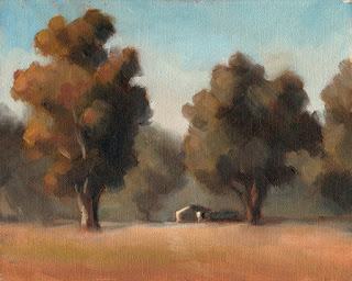 Oil painting of two eucalypts with a distant building in between.
