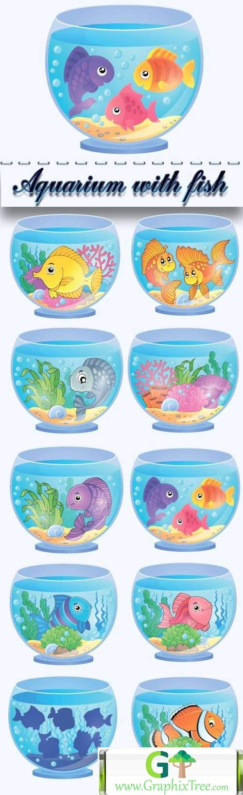 Aquarium with fish cartoon vector