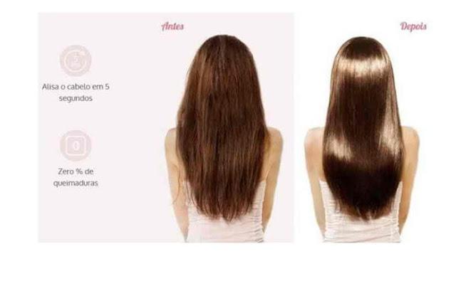 Veja O Antes e Depois Escova Mágica Alisadora LCD + Creme desmaia cabelo