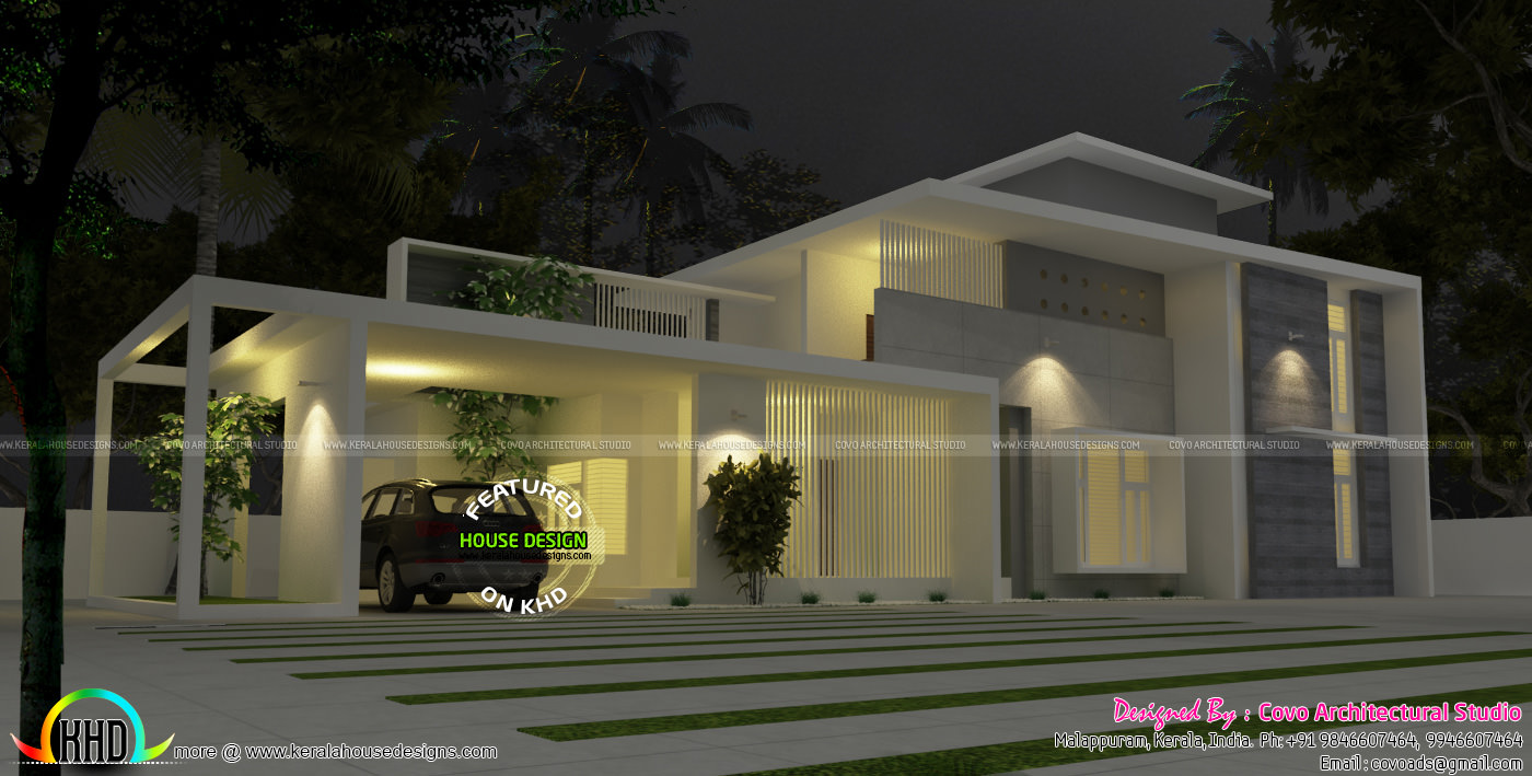 Contemporary Home Designs At Malappuram Part - 39: 4 Bedroom True Flat Roof Contemporary House