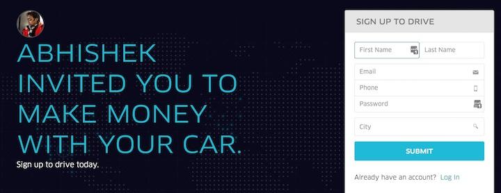 uber driver invite