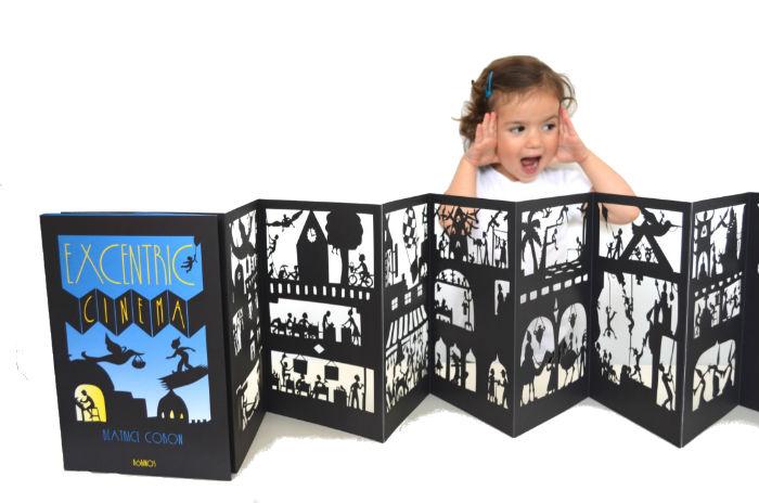 fomentar lectura con cuentos sorprendentes para leer a oscuras: libro troquelado Excentric cinema para hacer sombras
