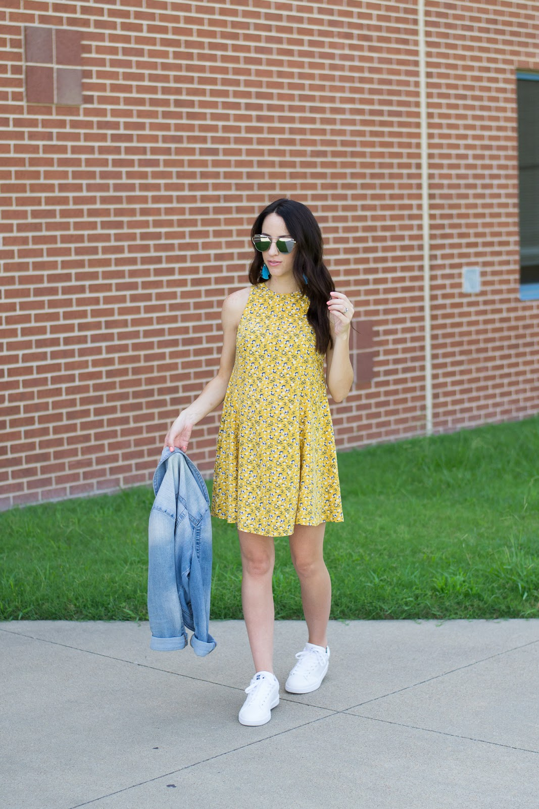 Summer Shift Dress with denim jacket and sneakers