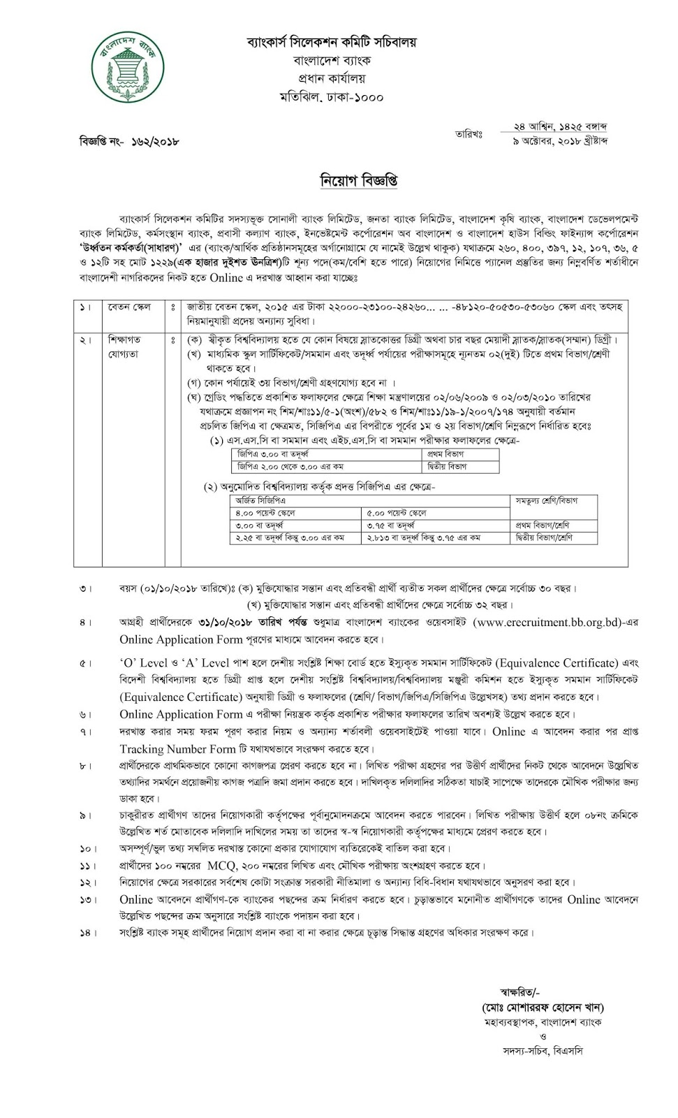 Bankers´Selection Committee Secretariat (BSCS) Senior Officer(General) Job Circular 2018