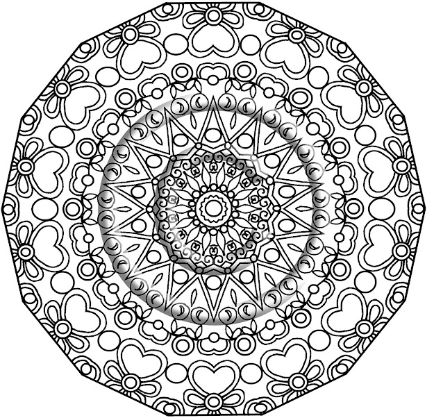 Instant Pdf Download Coloring Page Hand Drawn Zentangle Inspired Heavenly  Hearts Psychedelic Kaleidoscope Mandala Zendoodle By Kat