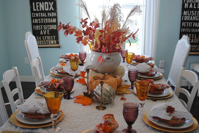 Thanksgiving fall tablescape, Fall tablescape, The Style Sisters, Peach colored pumpkins, Fall Cetnerpiece ideas