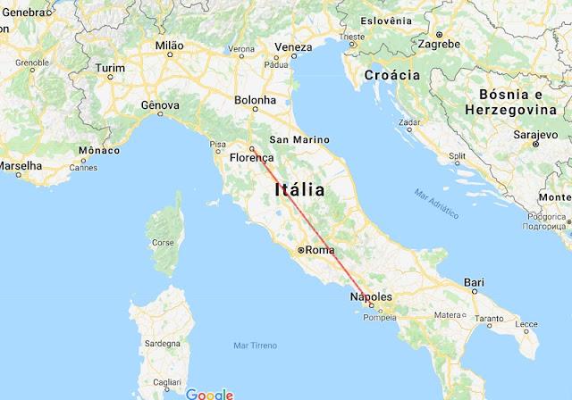 Mapa da viagem de Florença para Nápoles