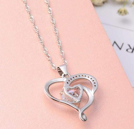 Heart Neckalce Silver Plated Cubic Zirconia Forever Lover Gift for Women