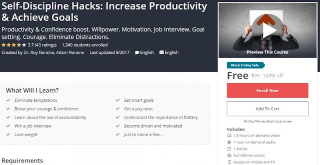 [100% Off] Self-Discipline Hacks: Increase Productivity & Achieve Goals| Worth 95$