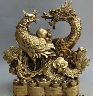 Chinese Dragon and Phoenix Statue