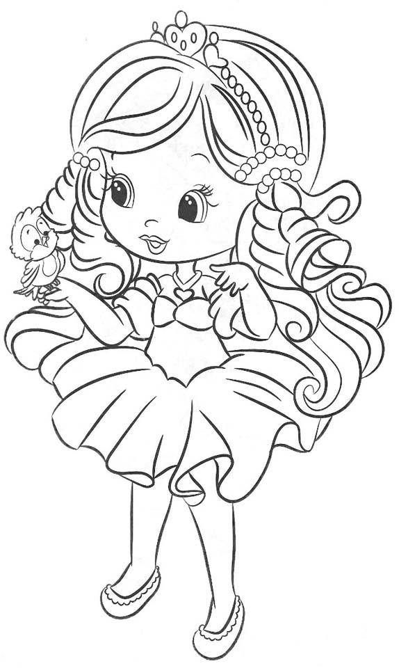 Dibujo para colorear de princesita con ave