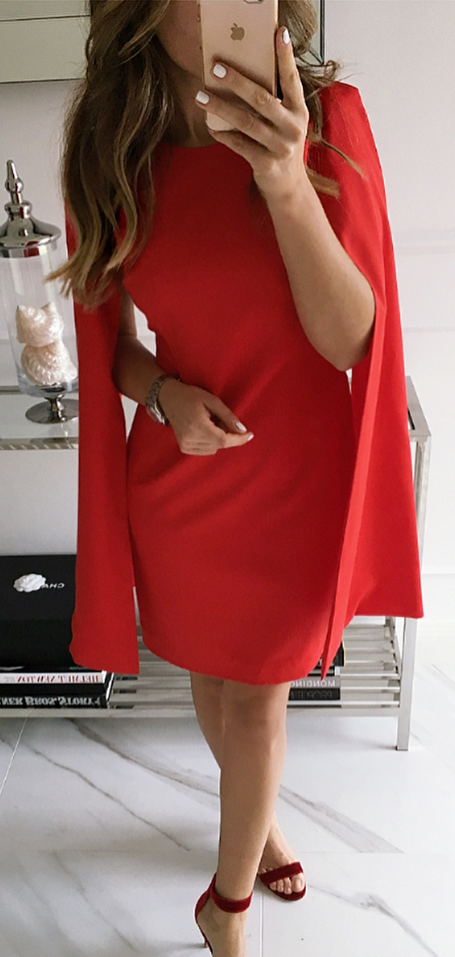 beautiful red outfit / dress and heels