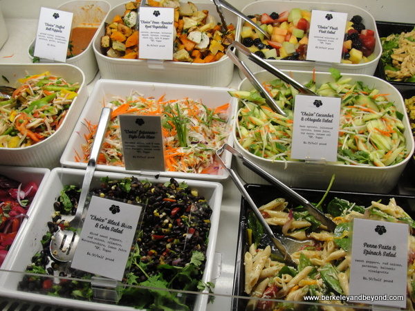 salads in deli case at Comforts in San Anselmo, California