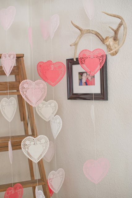 hanging heart doilies for Valentine's Day