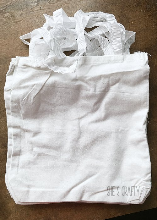 blank white canvas bags