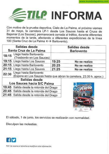 Modificaciones de la línea 100 de guagua con motivo del Rallye Cielo de La Palma