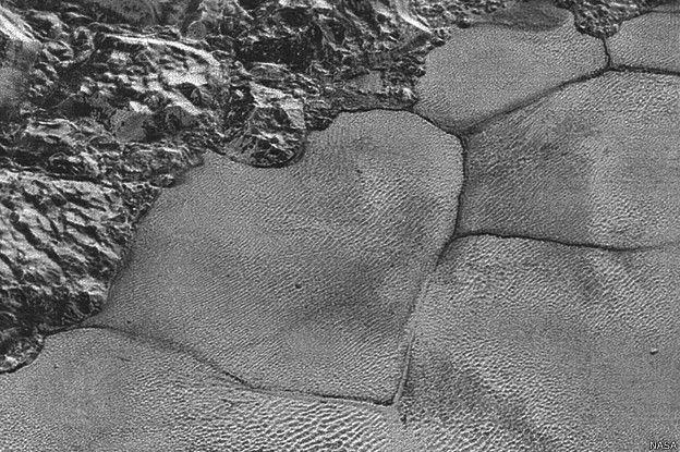 Plutón: Ahora los expertos saben que las misteriosas colinas son desprendimientos de témpanos de la superficie rugosa que rodea Sputnik Planum.