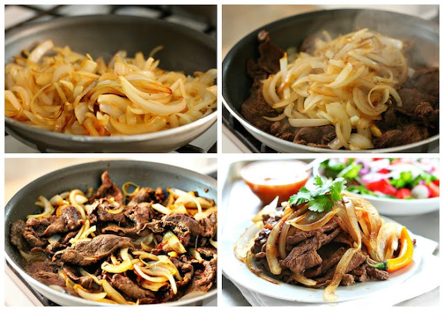 Bistec encebollado - steak and onions