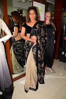 Neetu Chandra in Black Saree at Designer Sandhya Singh Store Launch Mumbai (29).jpg