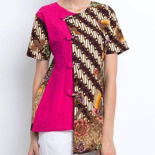 Atasan Barik Kombinasi: Model Baju Batik Embos Kombinasi Kain Polos, Sifon, Bolero