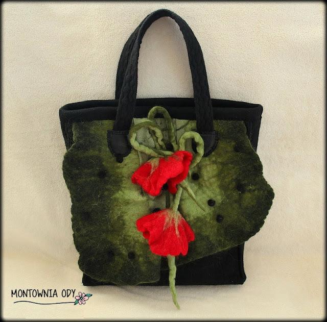 torba z filcowanymi kwiatami