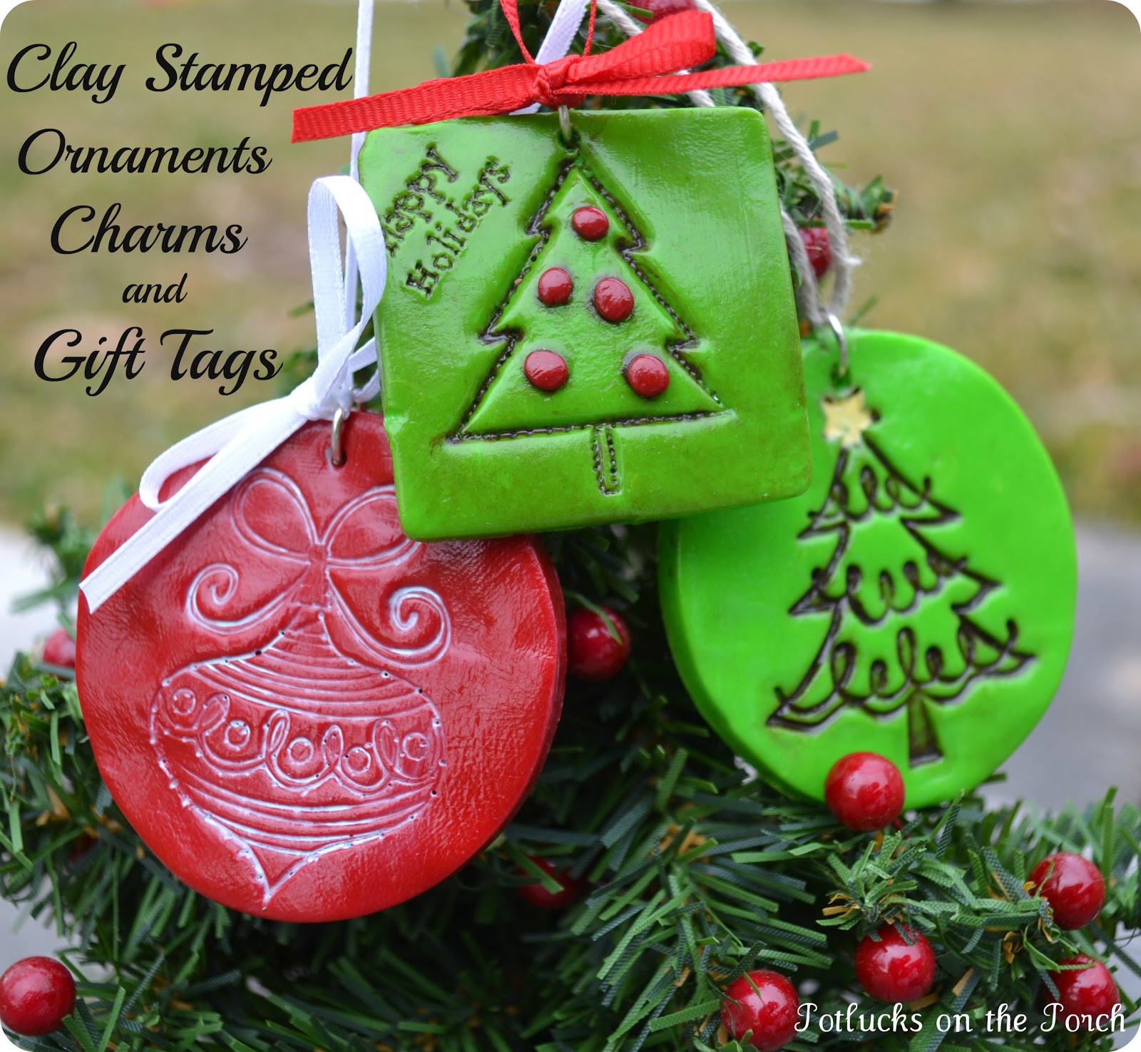 Potlucks On The Porch: Clay Stamped Christmas Ornaments