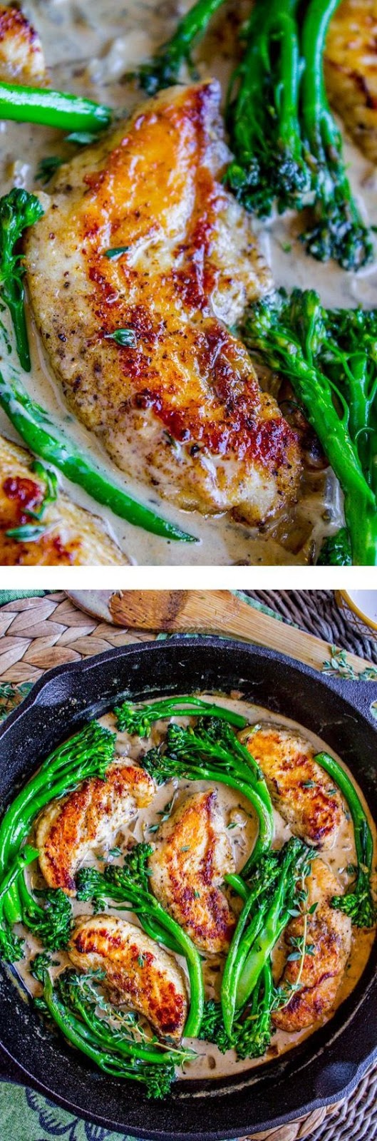 Pan-Seared Chicken and Broccolini in Creamy Mustard Sauce