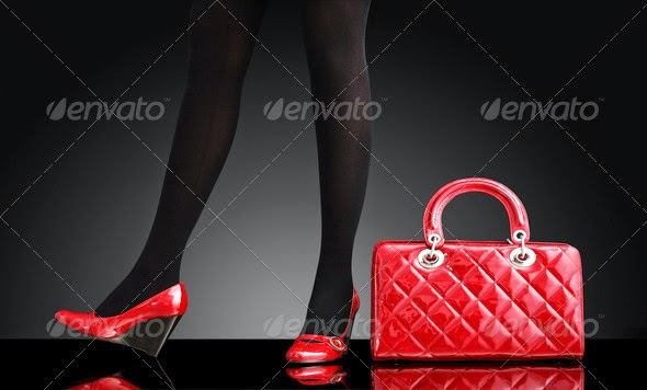 Fashionable Woman and Red Bag