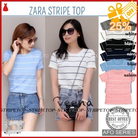 AFO154 Model Fashion Zar Stripe Top Modis Murah BMGShop