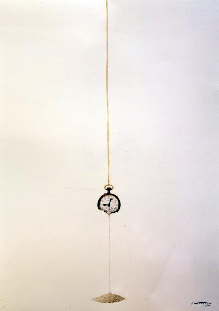 Acuarela surrealista tiempo reloj pintor catalán Isidro Ventura