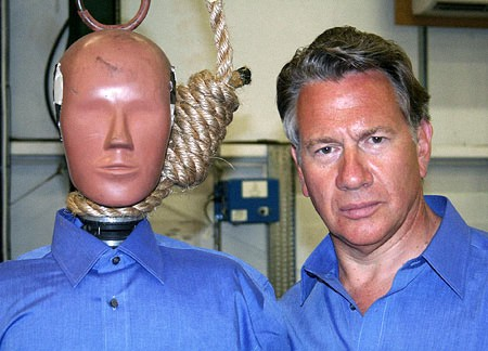 Michael Portillo with his alter ego to be hanged