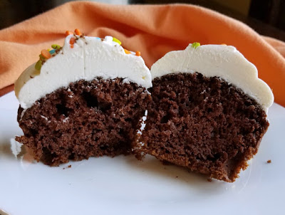 inside of chocolate pumpkin cupcake