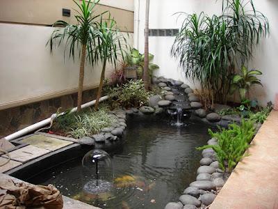 Sebuah rumah dengan taman indah di halamannya akan sangat menarik dan menyenangkan 55 Desain Kolam Ikan Minimalis dan Cantik Di Halaman