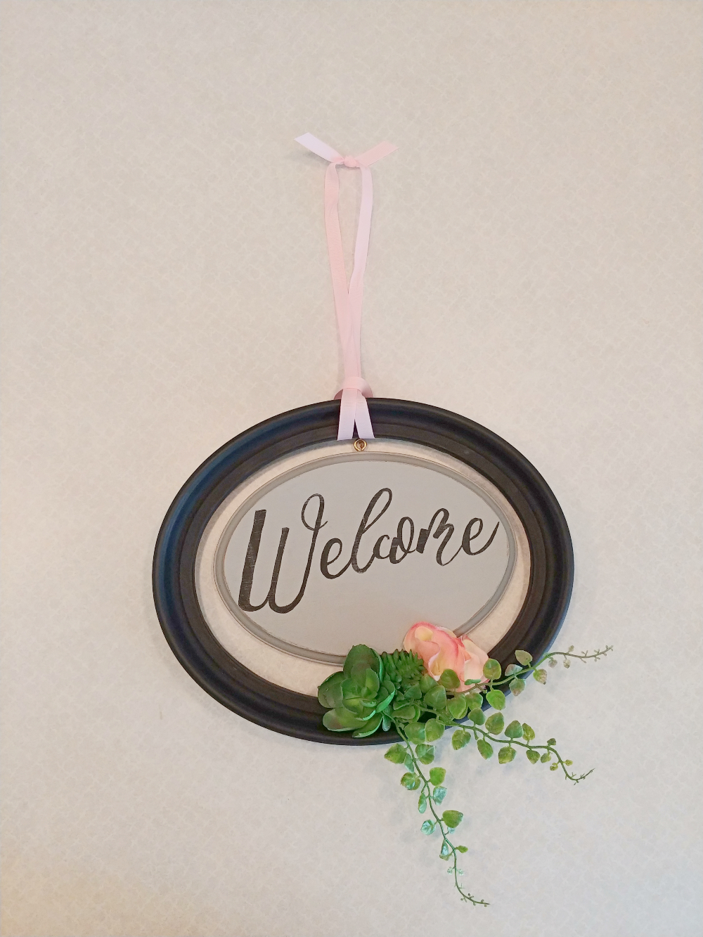 upcycled frame welcome sign