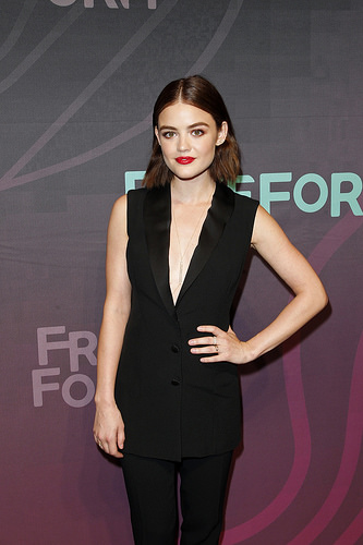 PLL actress Lucy Hale (Aria) at Freeform 2016 Upfront
