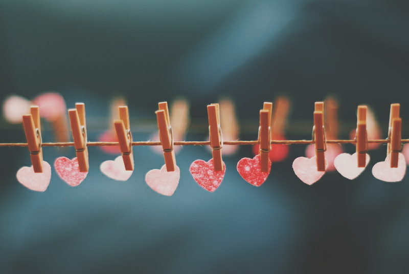 Creative hearts on pegs