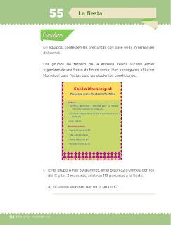 Apoyo Primaria Desafíos matemáticos 3ro Grado Bloque IV Lección 55 La fiesta