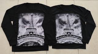 Jual Online Sweater Paris Sephia Black Couple Murah Jakarta Bahan Babytery Terbaru