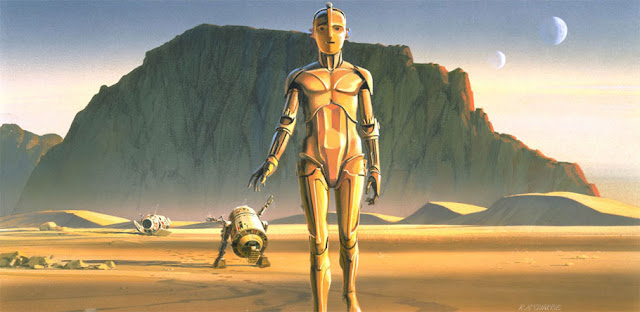 Concept art of C3PO by Ralph McQuarrie